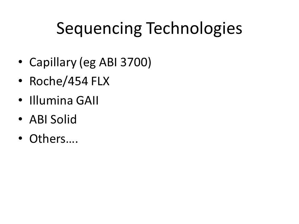 Sequencing Technologies Capillary (eg ABI 3700) Roche/454 FLX Illumina GAII ABI Solid Others….