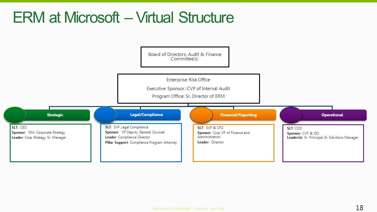 ERM at Microsoft – Virtual Structure 18 SLT: COO Sponsor: CVP & CIO Leader(s): Sr. Principal, Sr. Solutions Manager SLT: SVP & CFO Sponsor: Corp VP of