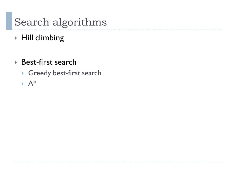 Search algorithms Hill climbing Best-first search Greedy best-first search A*