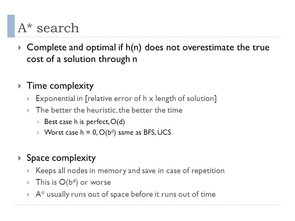 Complete and optimal if h(n) does not overestimate the true cost of a solution through n Time complexity Exponential in [relative error of h x length