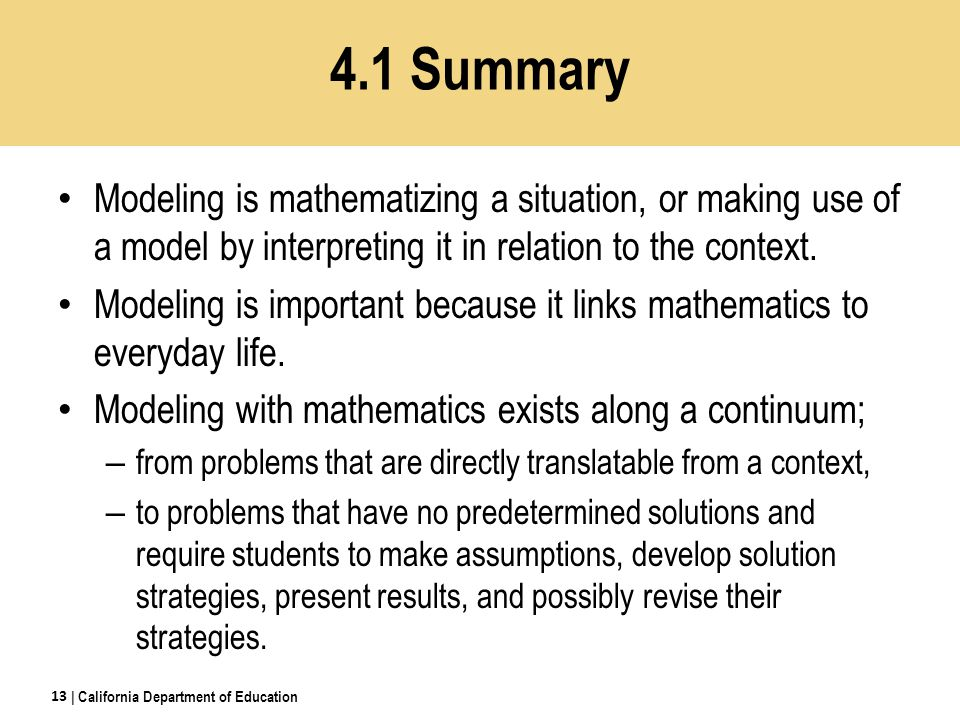 Modeling is mathematizing a situation, or making use of a model by interpreting it in relation to the context.