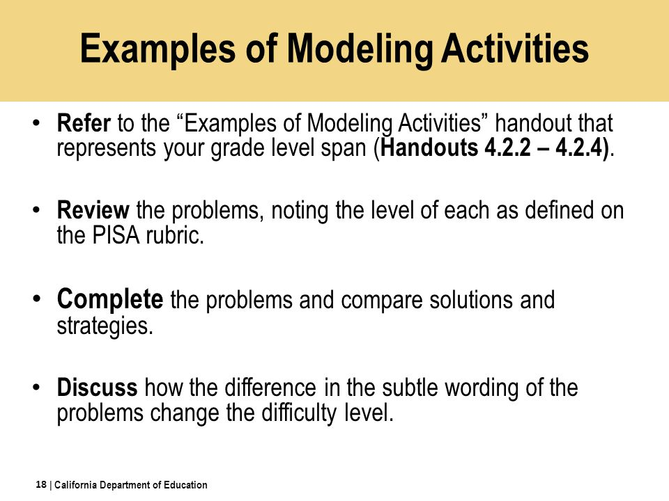 Refer to the Examples of Modeling Activities handout that represents your grade level span ( Handouts 4.2.2 – 4.2.4).