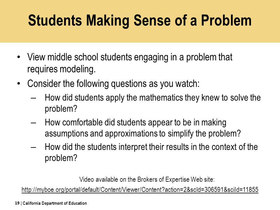 View middle school students engaging in a problem that requires modeling.