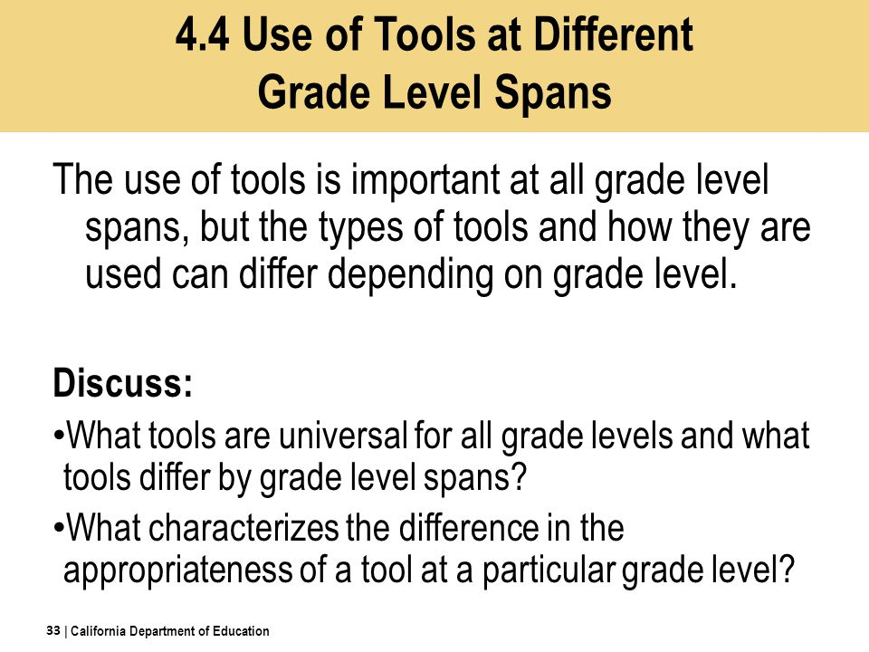 The use of tools is important at all grade level spans, but the types of tools and how they are used can differ depending on grade level.