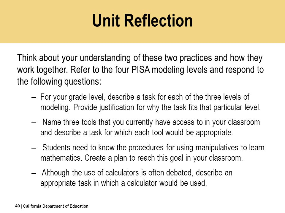 Unit Reflection Think about your understanding of these two practices and how they work together.