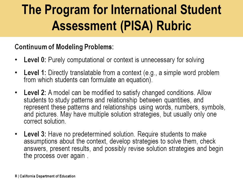 The Program for International Student Assessment (PISA) Rubric Continuum of Modeling Problems: Level 0: Purely computational or context is unnecessary for solving Level 1: Directly translatable from a context (e.g., a simple word problem from which students can formulate an equation).