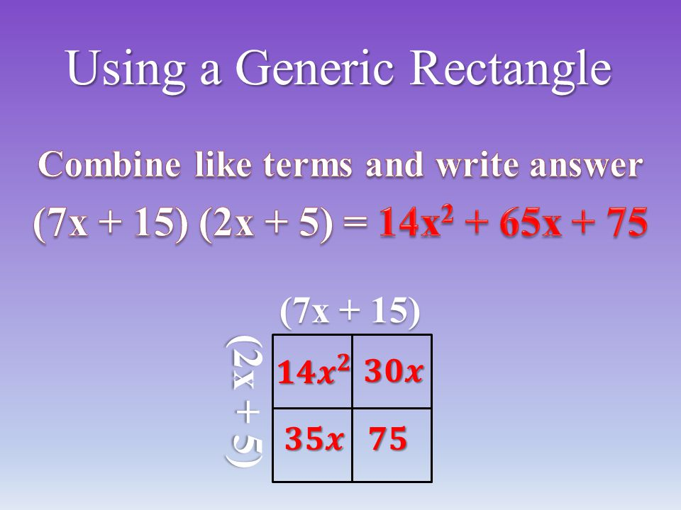 Using a Generic Rectangle (7x + 15) (2x + 5)