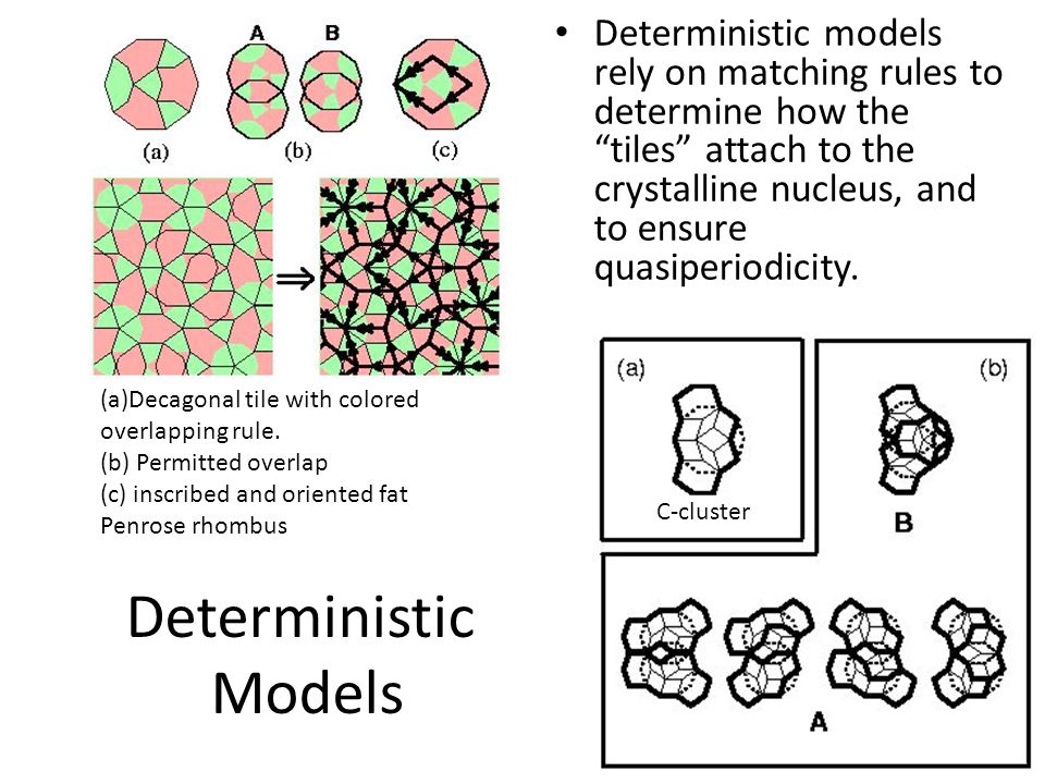 Deterministic models rely on matching rules to determine how the tiles attach to the crystalline nucleus, and to ensure quasiperiodicity. Deterministi