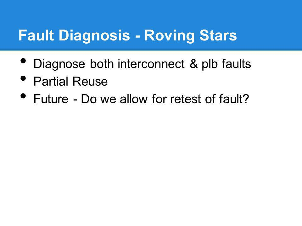 Fault Diagnosis - Roving Stars Diagnose both interconnect & plb faults Partial Reuse Future - Do we allow for retest of fault?