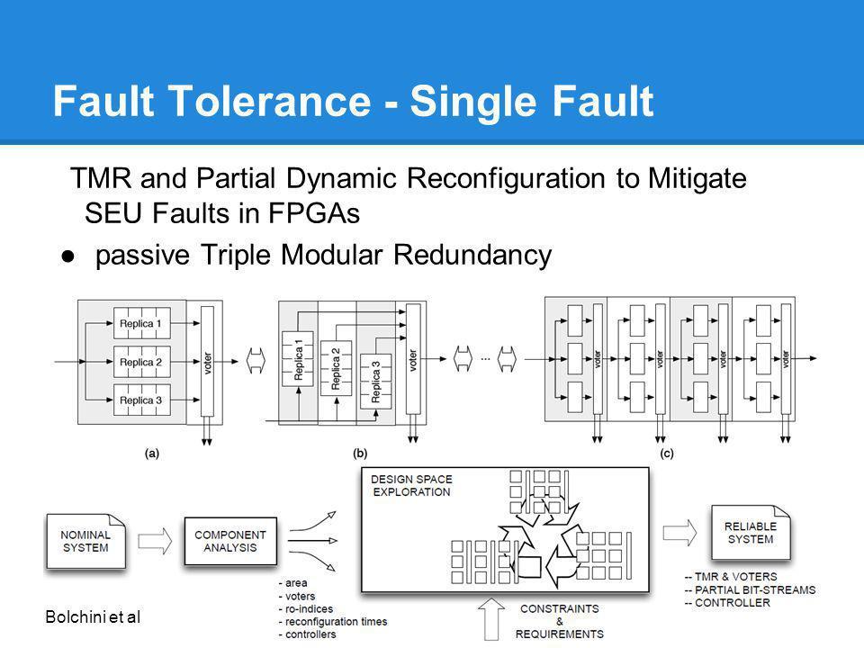 Fault Tolerance - Single Fault TMR and Partial Dynamic Reconfiguration to Mitigate SEU Faults in FPGAs passive Triple Modular Redundancy Bolchini et a