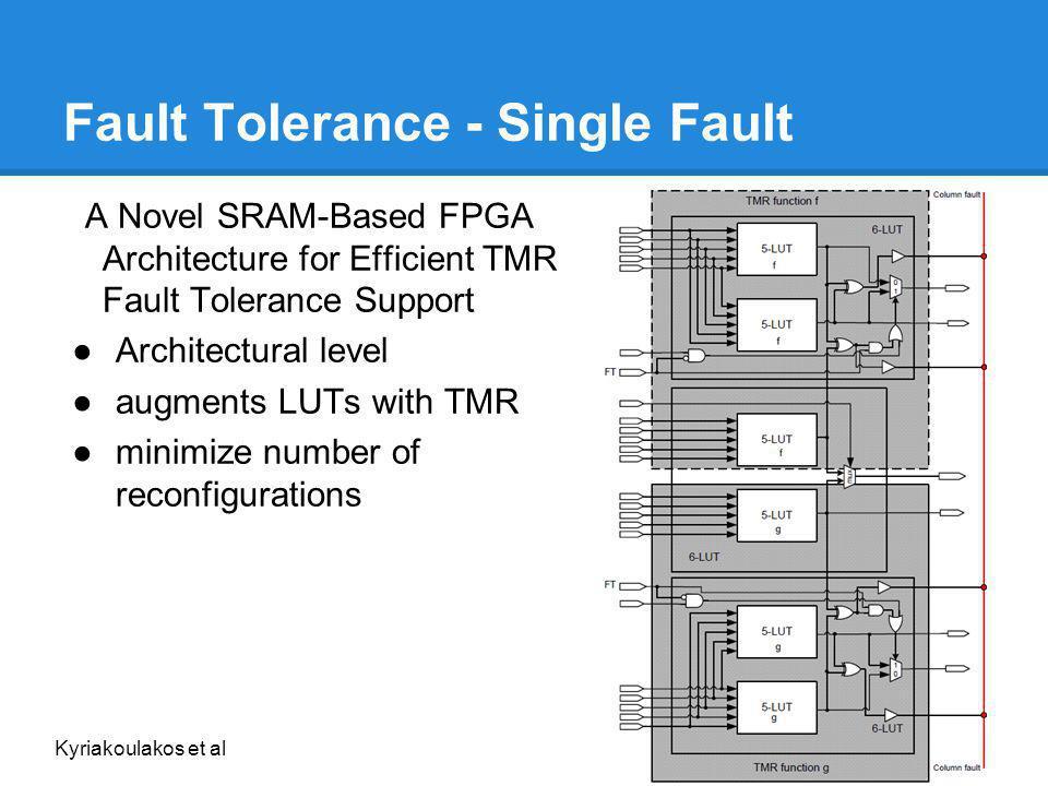 Fault Tolerance - Single Fault A Novel SRAM-Based FPGA Architecture for Efficient TMR Fault Tolerance Support Architectural level augments LUTs with T