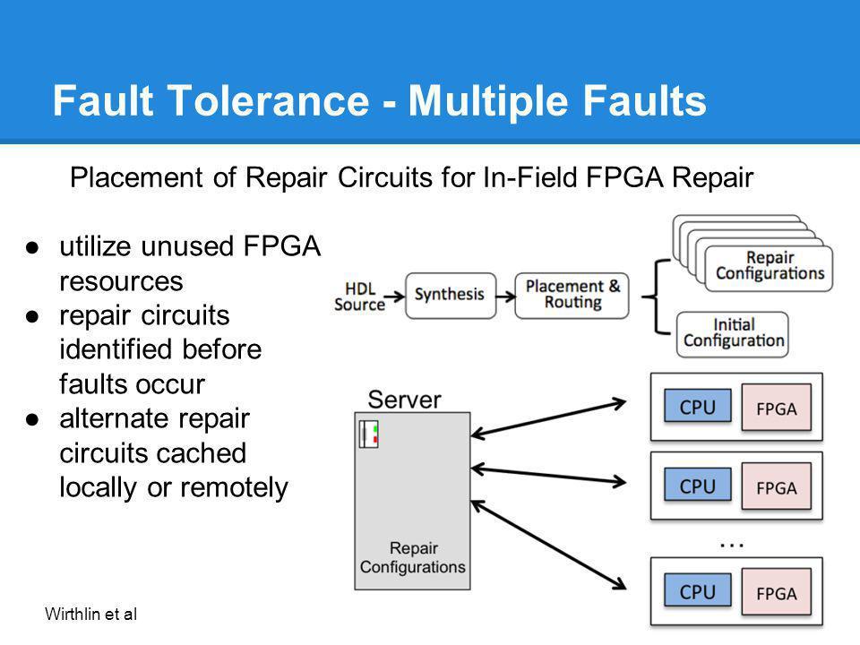 Fault Tolerance - Multiple Faults Placement of Repair Circuits for In-Field FPGA Repair utilize unused FPGA resources repair circuits identified befor