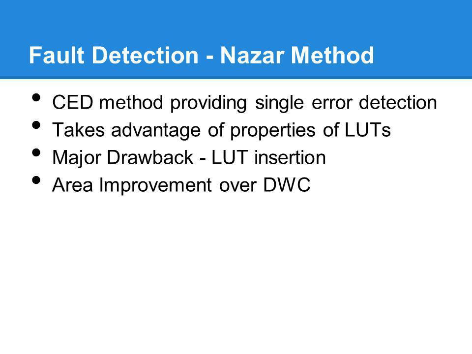 Fault Detection - Nazar Method CED method providing single error detection Takes advantage of properties of LUTs Major Drawback - LUT insertion Area I