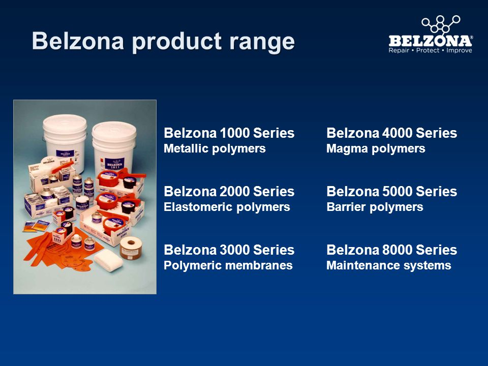 Belzona product range Belzona 1000 Series Metallic polymers Belzona 4000 Series Magma polymers Belzona 2000 Series Elastomeric polymers Belzona 5000 Series Barrier polymers Belzona 3000 Series Polymeric membranes Belzona 8000 Series Maintenance systems