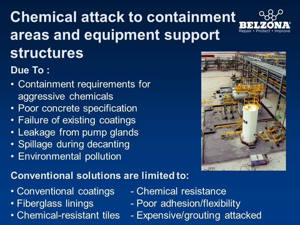 Chemical attack to containment areas and equipment support structures Due To : Containment requirements for aggressive chemicals Poor concrete specification Failure of existing coatings Leakage from pump glands Spillage during decanting Environmental pollution Conventional solutions are limited to: Conventional coatings- Chemical resistance Fiberglass linings- Poor adhesion/flexibility Chemical-resistant tiles- Expensive/grouting attacked