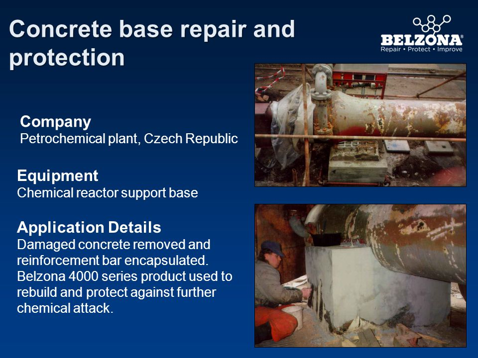 Company Problem Application Details Belzona repairs attacked channels Power station, UK Failure of the channels existing bituminous screed.