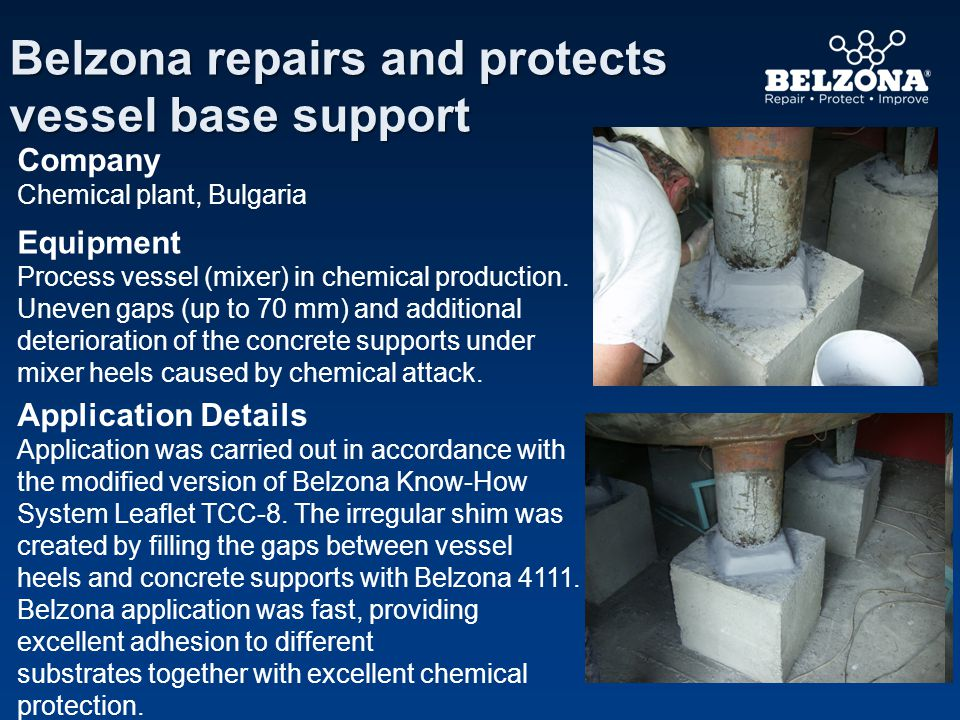 Application Details Application was carried out in accordance with the modified version of Belzona Know-How System Leaflet TCC-8. The irregular shim w