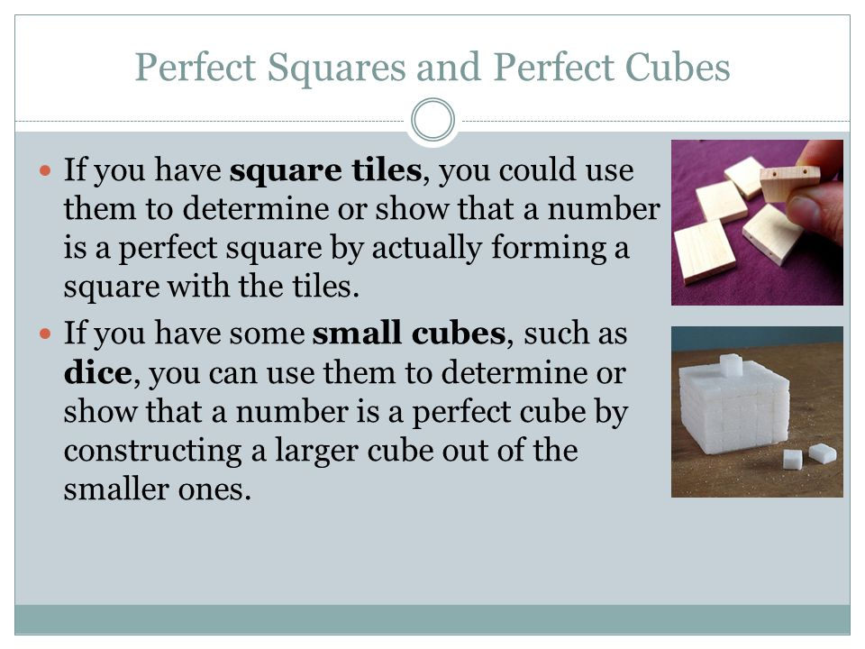 Example How could you use 36 square tiles to show that the number 36 is a perfect square.