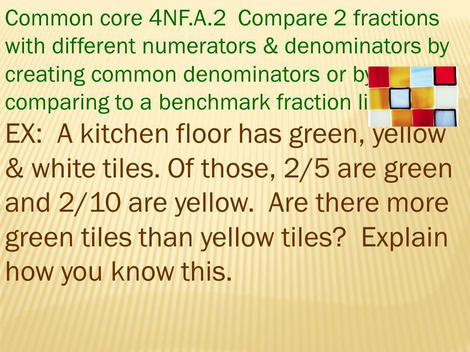 Common core 4NF.A.2 Compare 2 fractions with different numerators & denominators by creating common denominators or by comparing to a benchmark fracti