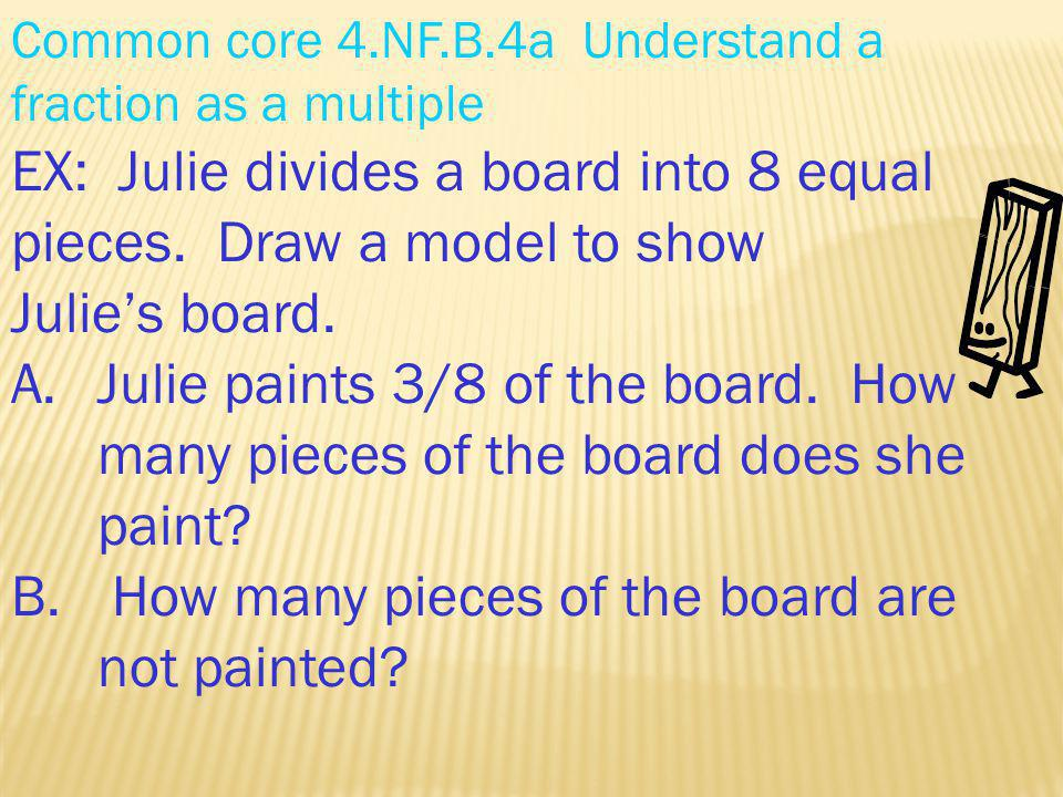 Common core 4.NF.B.4a Understand a fraction as a multiple EX: Julie divides a board into 8 equal pieces. Draw a model to show Julies board. A.Julie pa