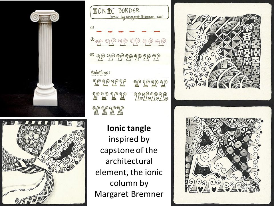 Ionic tangle inspired by capstone of the architectural element, the ionic column by Margaret Bremner