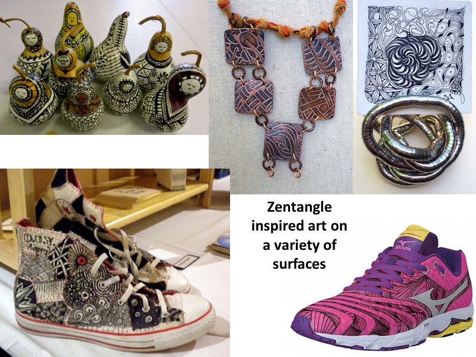 Zentangle inspired art on a variety of surfaces