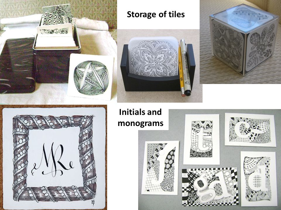 Storage of tiles Initials and monograms