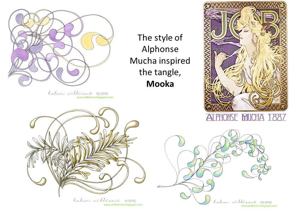 The style of Alphonse Mucha inspired the tangle, Mooka