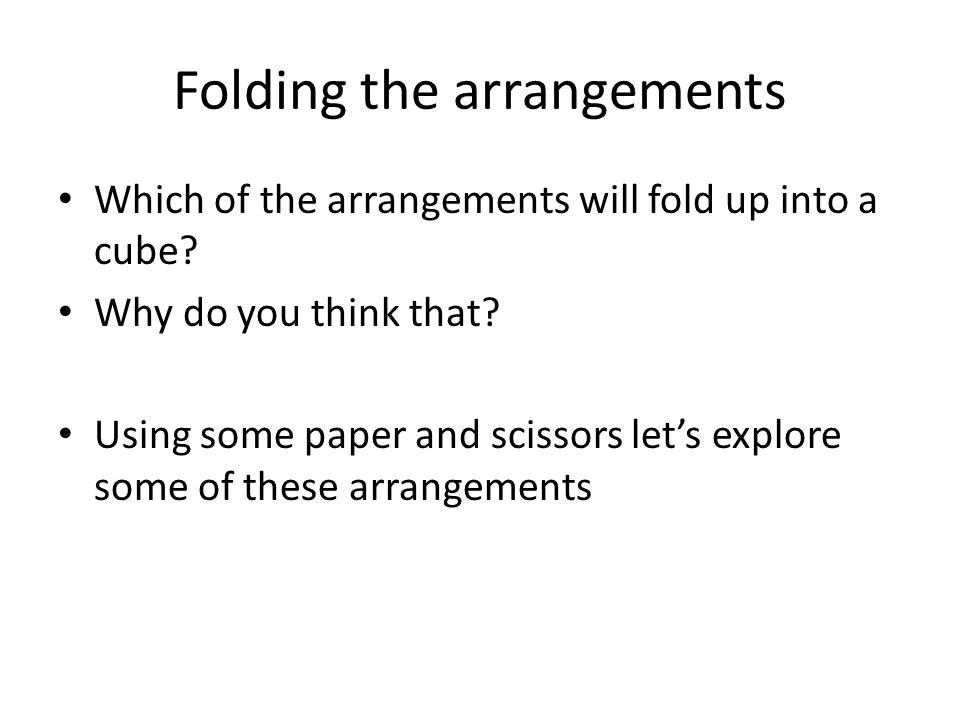 Folding the arrangements Which of the arrangements will fold up into a cube.