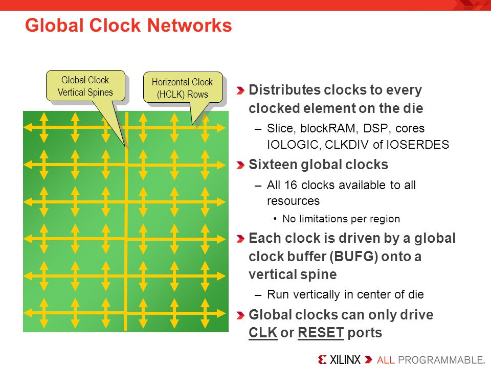 Horizontal Clock Rows The clock network spans out along Horizontal Clock (HCLK) rows HCLK rows can be driven by the associated vertical spine or an output of the CMT elements directly adjacent to that row –Each row is either adjacent to the PLL in one CMT, or both DCMs in a CMT –Direct connections from the CMT allow for more than 16 clocks per device –Instantiate a BUFH primitive for this connection