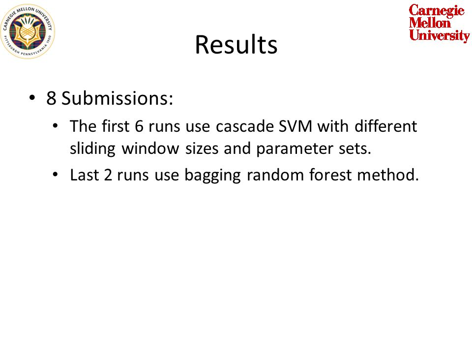 Results 8 Submissions: The first 6 runs use cascade SVM with different sliding window sizes and parameter sets.