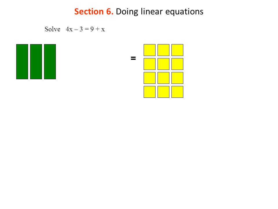 Section 6. Doing linear equations = Solve 4x – 3 = 9 + x