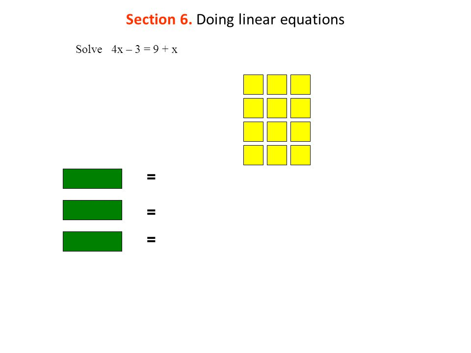 Section 6. Doing linear equations = Solve 4x – 3 = 9 + x = =