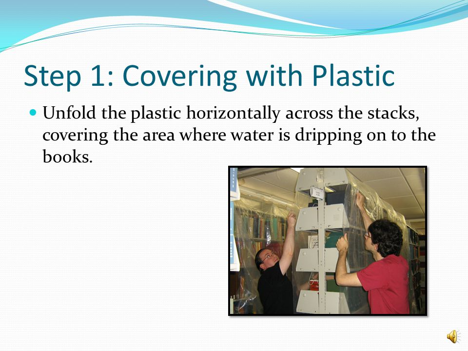 Step 1: Covering with Plastic Toss one end of the plastic sheet over the stacks.