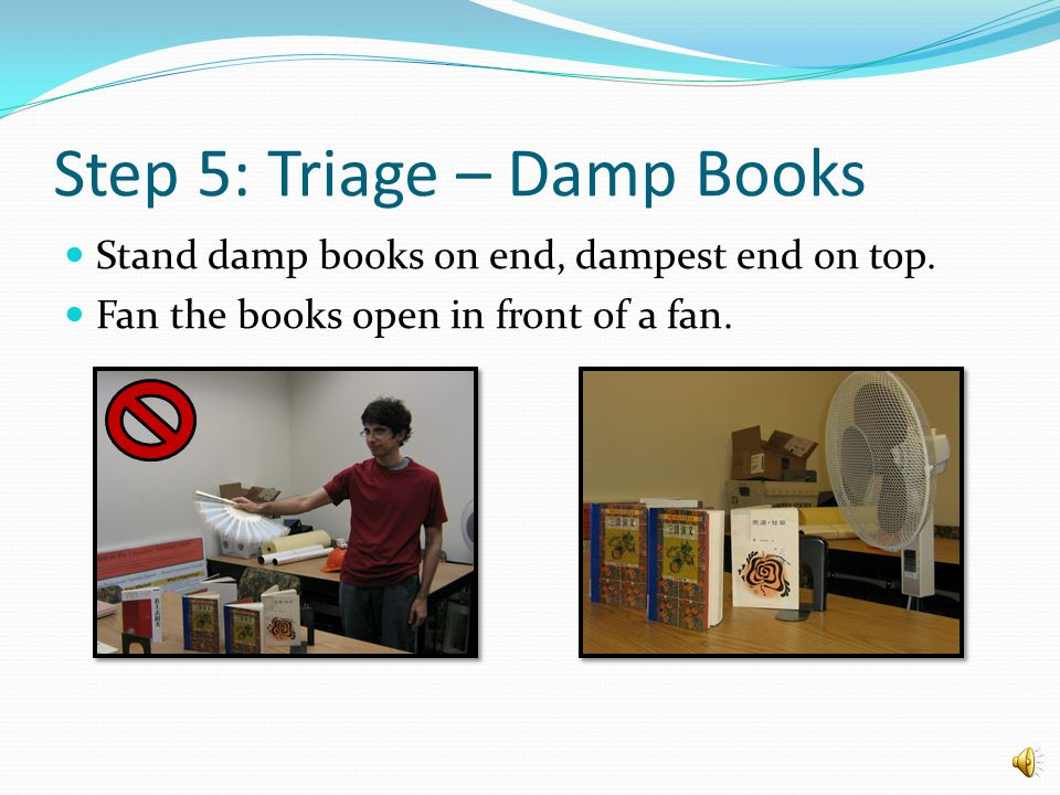 Step 5: Triage – Wet Books Leave in front of a fan to assist drying Change the paper towels once every hour A preservation specialist will decide if items should be sent to a professional company for freeze drying.