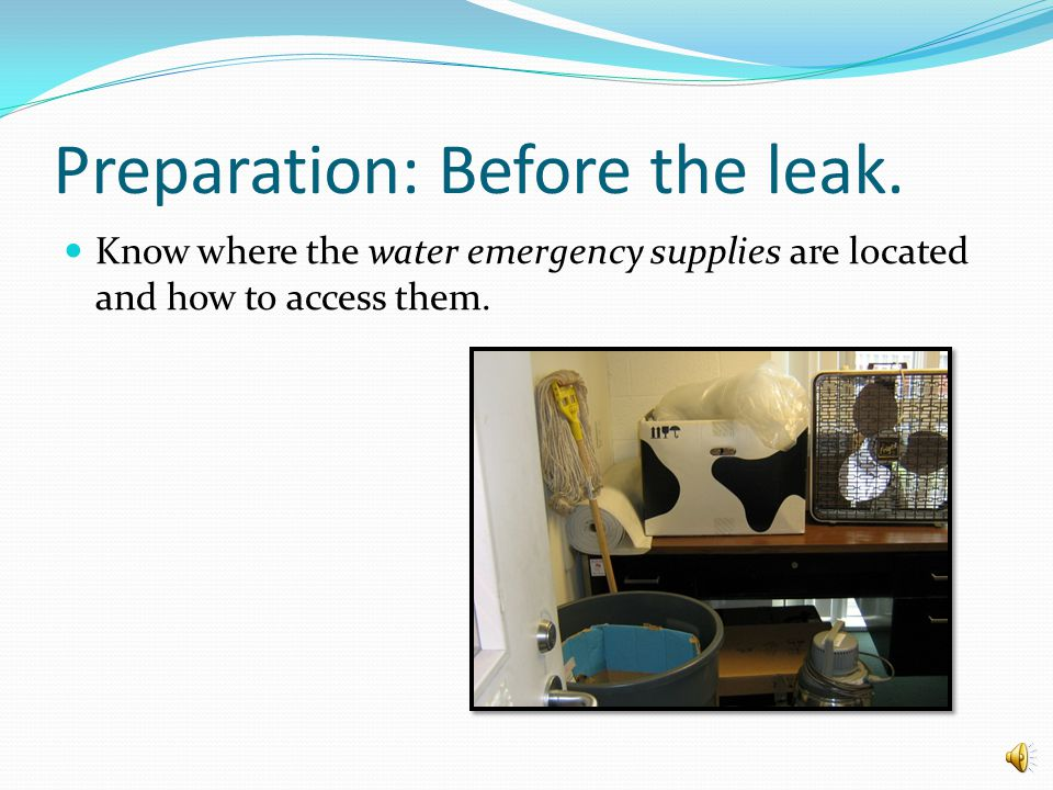 How to spot a small water emergency. Check for damp, discolored, dripping or bulging ceiling tiles.