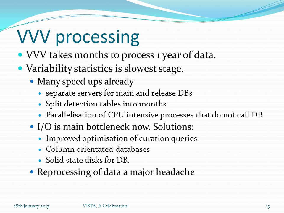 VVV processing VVV takes months to process 1 year of data.