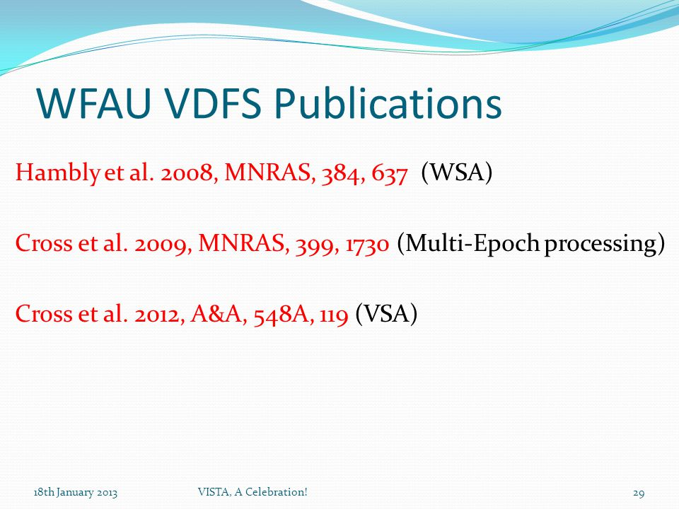 WFAU VDFS Publications Hambly et al. 2008, MNRAS, 384, 637 (WSA) Cross et al.