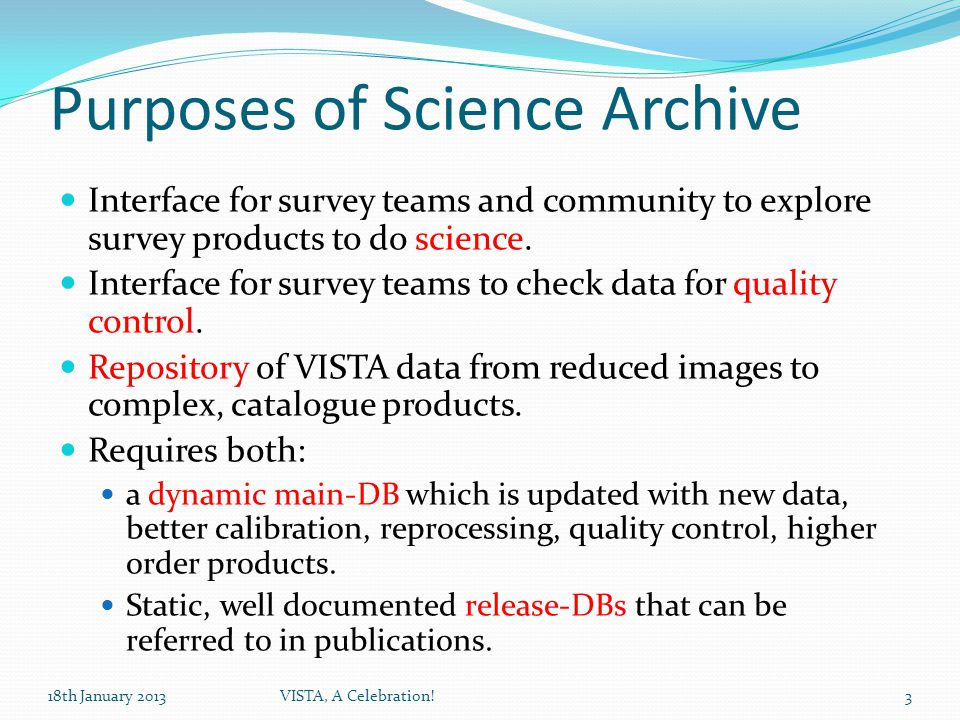 Using the Archive Support Documentation / Publications Quality Control Different Interfaces 18th January 2013VISTA, A Celebration!14