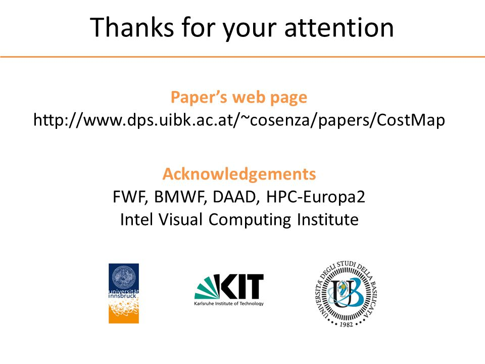 Thanks for your attention Papers web page http://www.dps.uibk.ac.at/~cosenza/papers/CostMap Acknowledgements FWF, BMWF, DAAD, HPC-Europa2 Intel Visual Computing Institute
