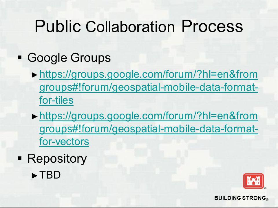 BUILDING STRONG ® Public Collaboration Process Google Groups https://groups.google.com/forum/?hl=en&from groups#!forum/geospatial-mobile-data-format-
