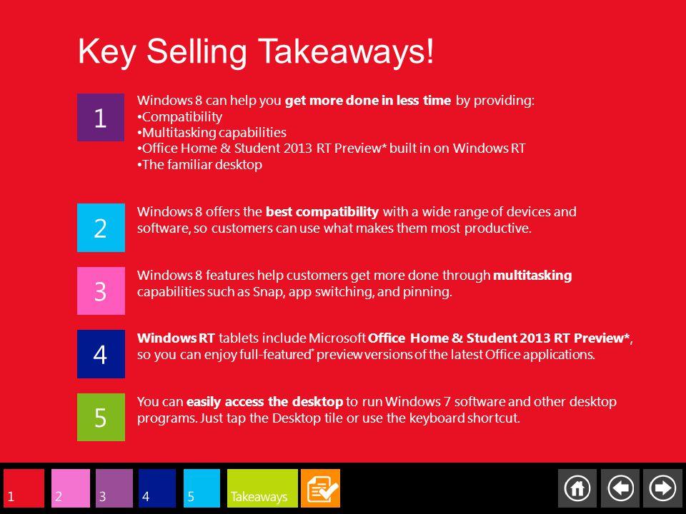 Key Selling Takeaways.