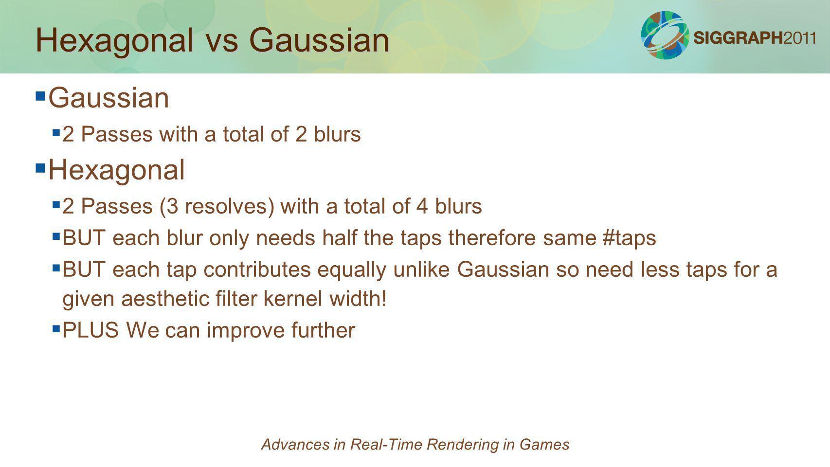 Hexagonal vs Gaussian Gaussian 2 Passes with a total of 2 blurs Hexagonal 2 Passes (3 resolves) with a total of 4 blurs BUT each blur only needs half