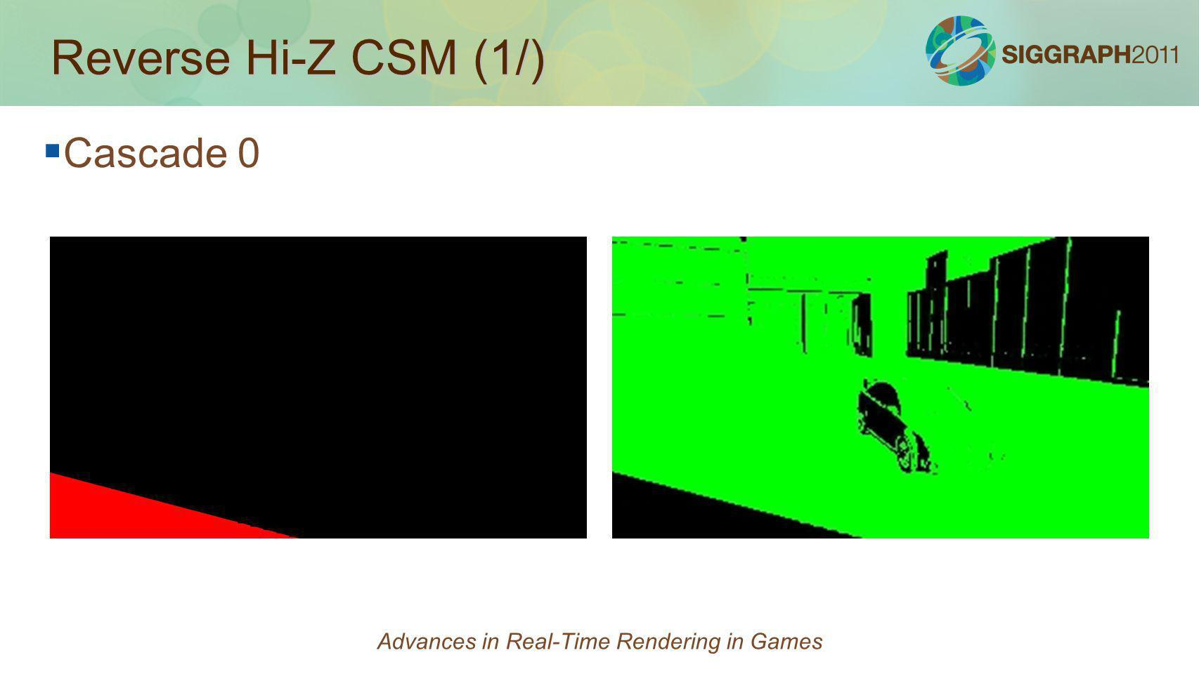 Reverse Hi-Z CSM (1/) Cascade 0 Advances in Real-Time Rendering in Games