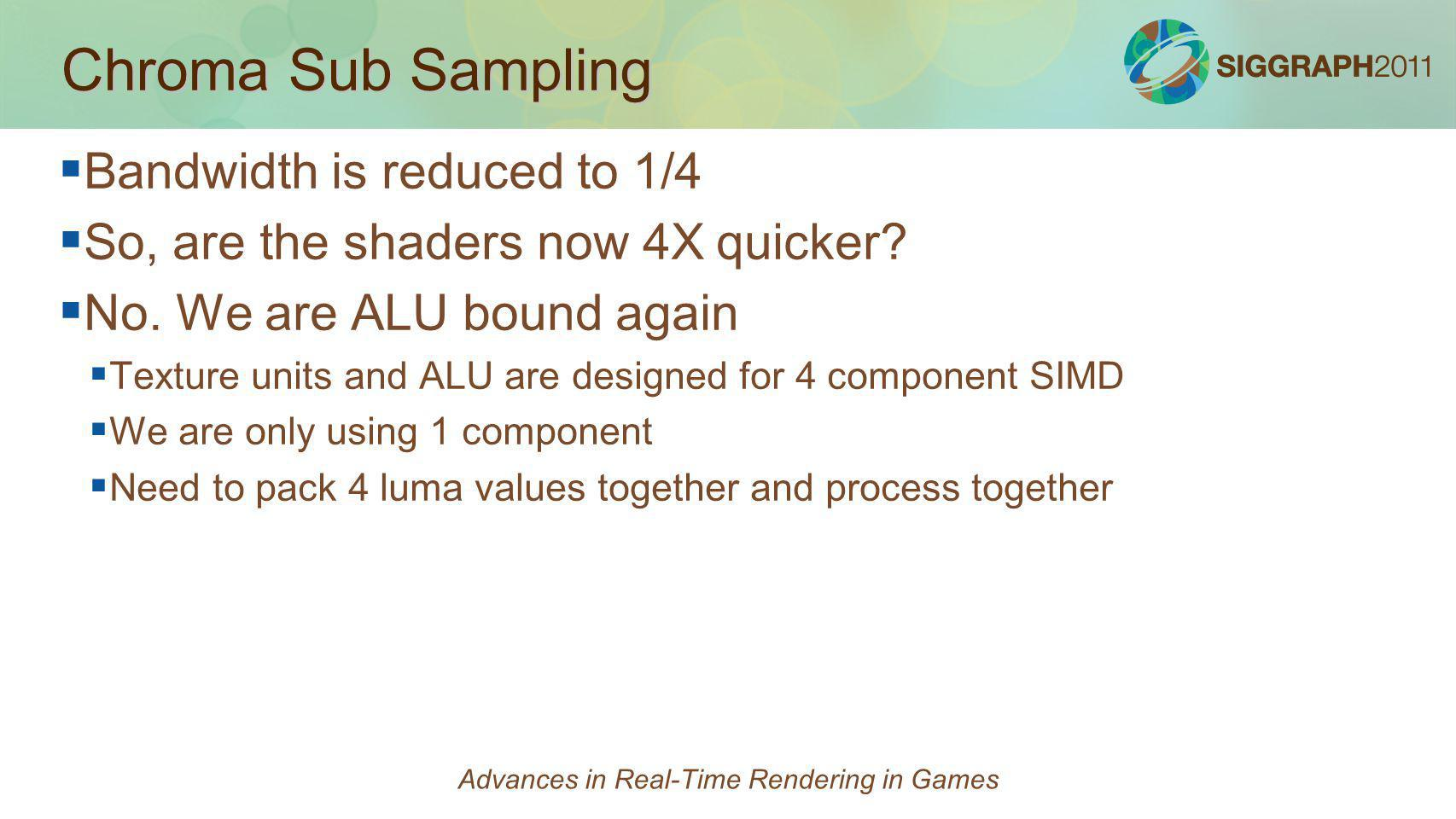 Chroma Sub Sampling Bandwidth is reduced to 1/4 So, are the shaders now 4X quicker? No. We are ALU bound again Texture units and ALU are designed for