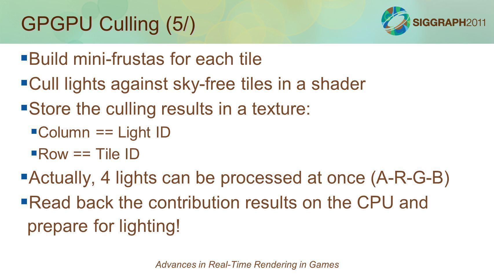 GPGPU Culling (5/) Build mini-frustas for each tile Cull lights against sky-free tiles in a shader Store the culling results in a texture: Column == L