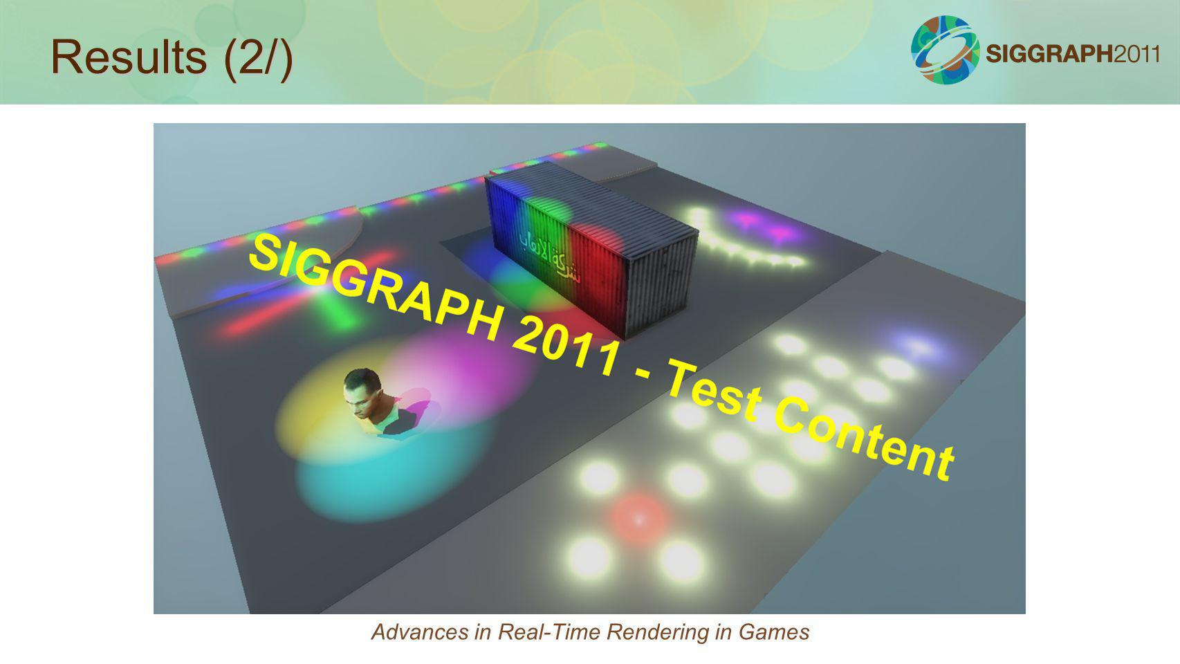 Results (2/) Advances in Real-Time Rendering in Games