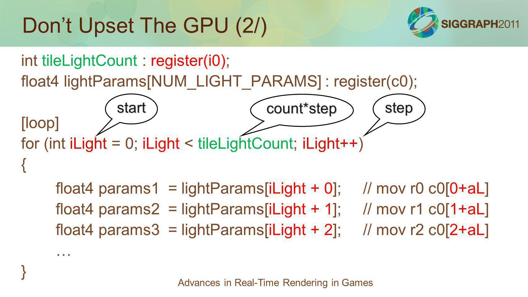 Dont Upset The GPU (2/) int tileLightCount : register(i0); float4 lightParams[NUM_LIGHT_PARAMS] : register(c0); [loop] for (int iLight = 0; iLight < t