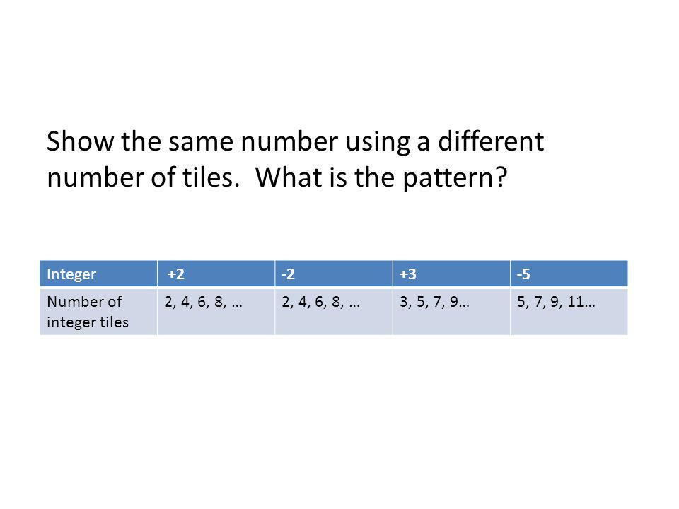 Show the same number using a different number of tiles. What is the pattern? Integer +2-2+3-5 Number of integer tiles 2, 4, 6, 8, … 3, 5, 7, 9…5, 7, 9