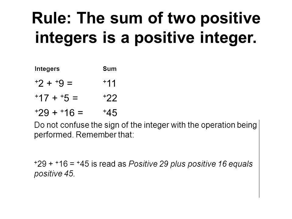 Rule: The sum of two positive integers is a positive integer. IntegersSum + 2 + + 9 = + 11 + 17 + + 5 = + 22 + 29 + + 16 = + 45 Do not confuse the sig